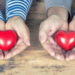 rote Herzen liegen in den Hnden von Senioren
